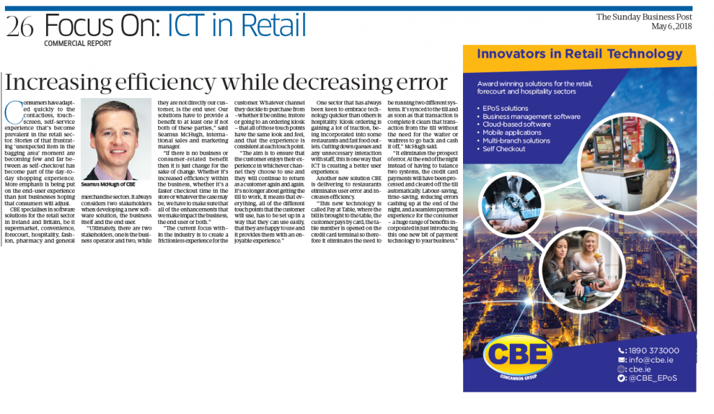 CBE featured in ICT in Retail Report in Sunday Business Post